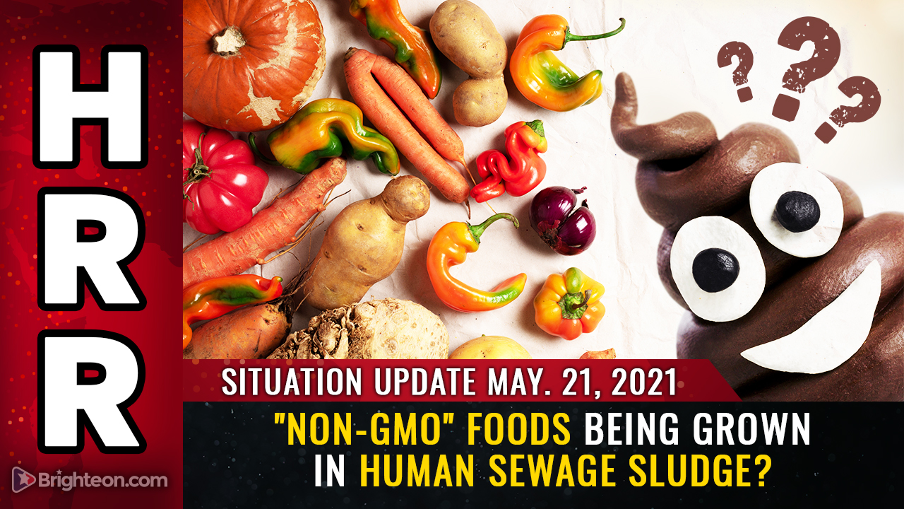 """Image: """"Non-GMO"""" foods being grown in HUMAN SEWAGE SLUDGE and sprayed with glyphosate and pesticides"""