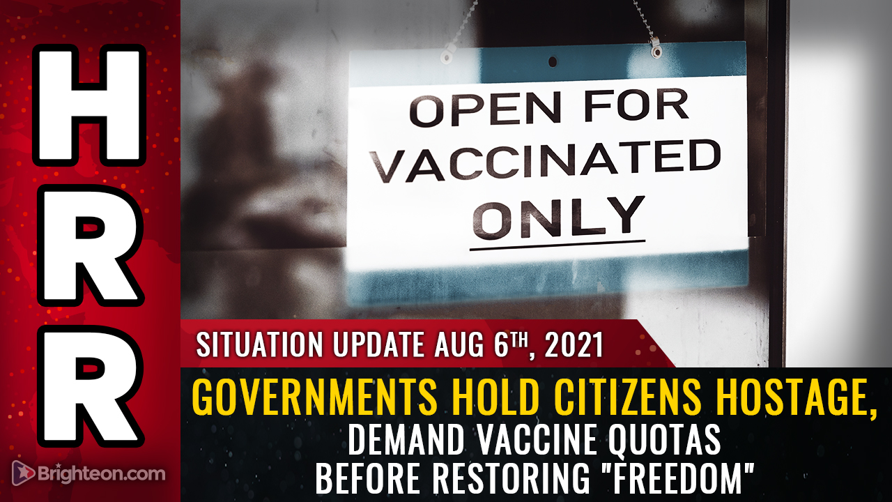 """Image: Governments hold citizens HOSTAGE, demand vaccine QUOTAS before restoring """"freedom"""""""