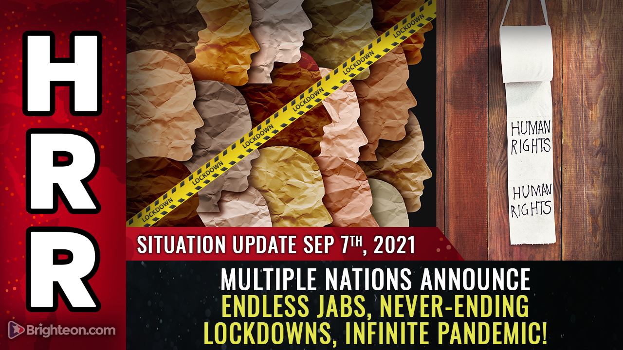 """Image: INFINITE PANDEMIC: Multiple nations announce never-ending """"booster"""" shots, lockdowns, covid compliance… it will only end when we RESIST the medical tyranny"""